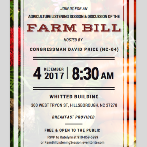 Cover photo for Agricultural Listening Session & Discussion of the FARM BILL