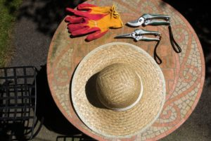 Hat, gloves and pruning shears on a mosaic table.