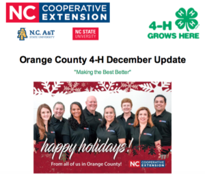 Cover photo for Orange County 4-H December Update