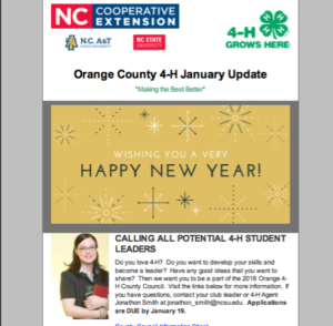 Cover photo for January Update for Orange County 4-H