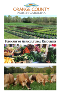Cover of Orange County North Carolina Summary of Agricultural Resources with photos of a green farm field, a farmers market, and cattle in a field