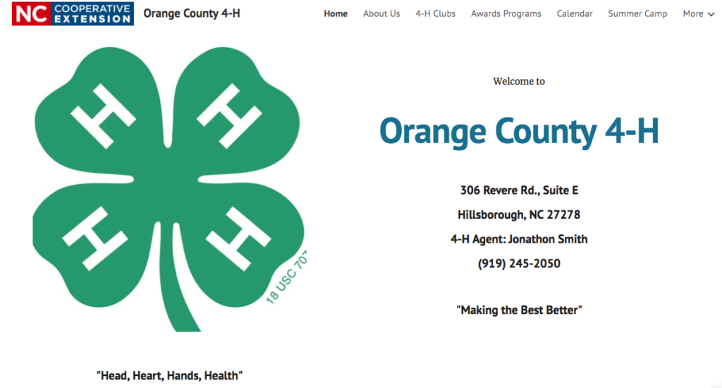 Orange County 4 H Launches New Website North Carolina Cooperative