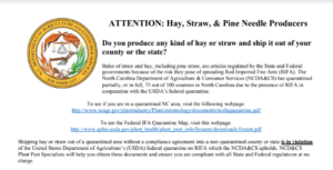 Hay, straw, and pine needle quarantine flyer image