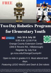 Cover photo for 4-H Robotics Program July 16 and July 18