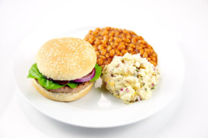 Image of a hamburger and sides