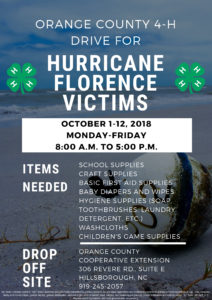 Cover photo for Orange County 4-H Drive for Hurricane Florence Victims October 1-12