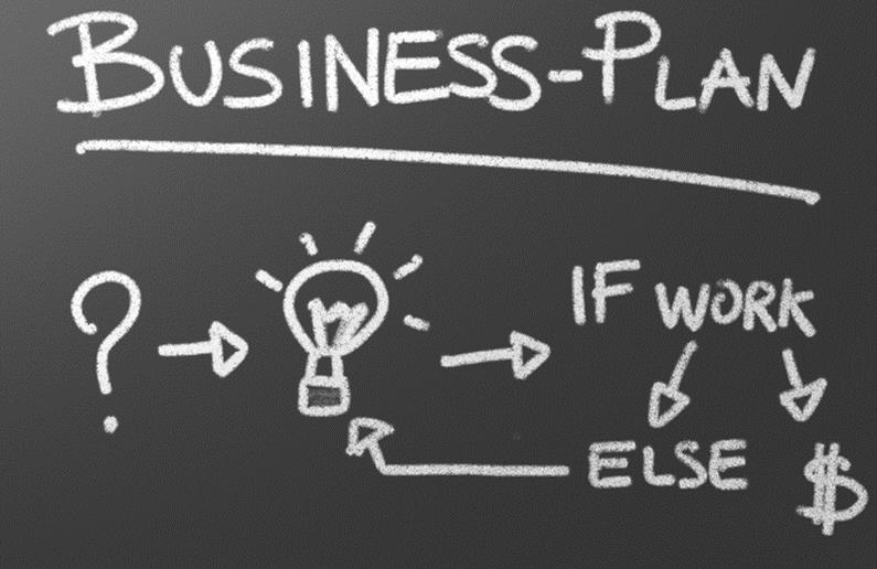 Simple business plan flow chart on chalk board