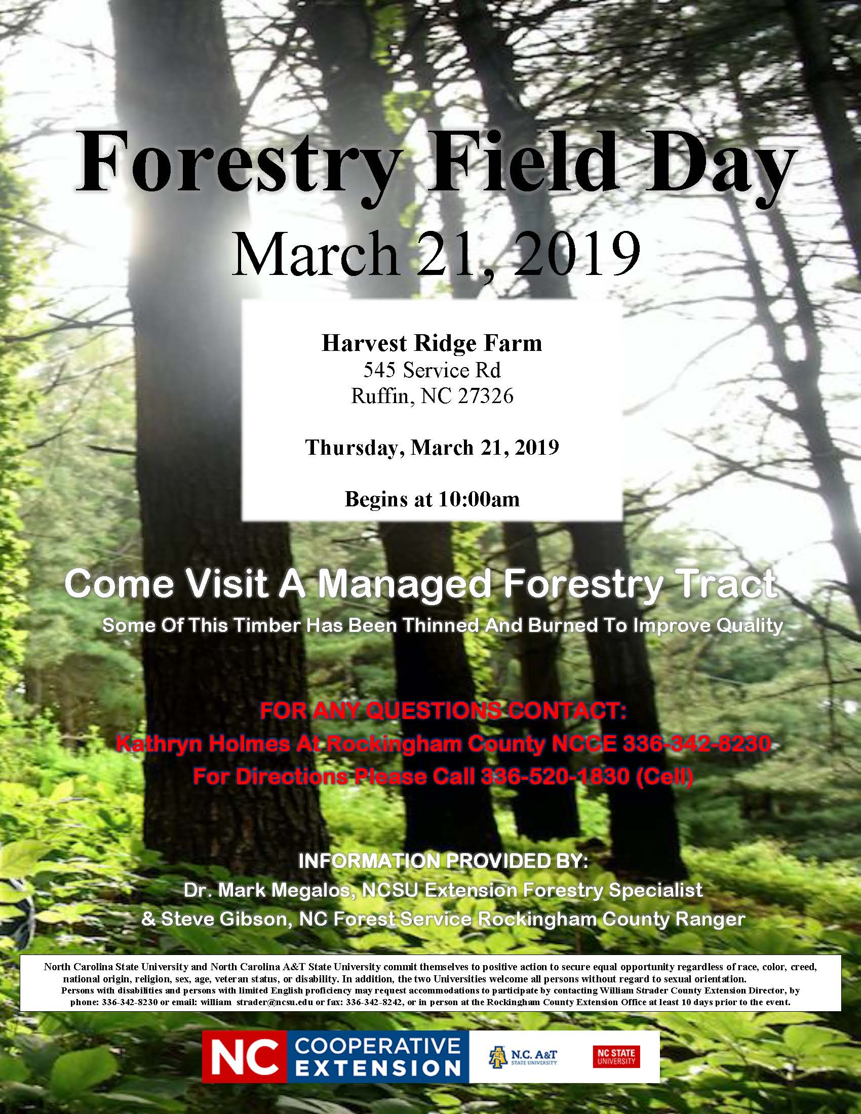 Forestry Field Day flyer image