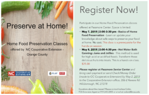 Home Food Preservation class schedule