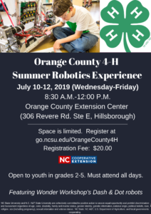 Cover photo for 4-H Robotics Camp for Grades 2-5