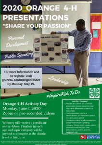 Cover photo for Orange County 4-H Activity Day 2020:  Share Your Passion