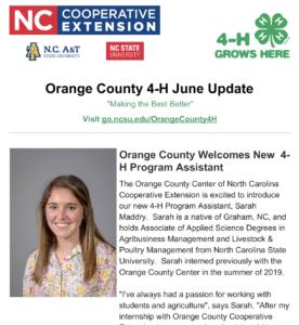 Cover photo for Orange County 4-H June 2020 Newsletter