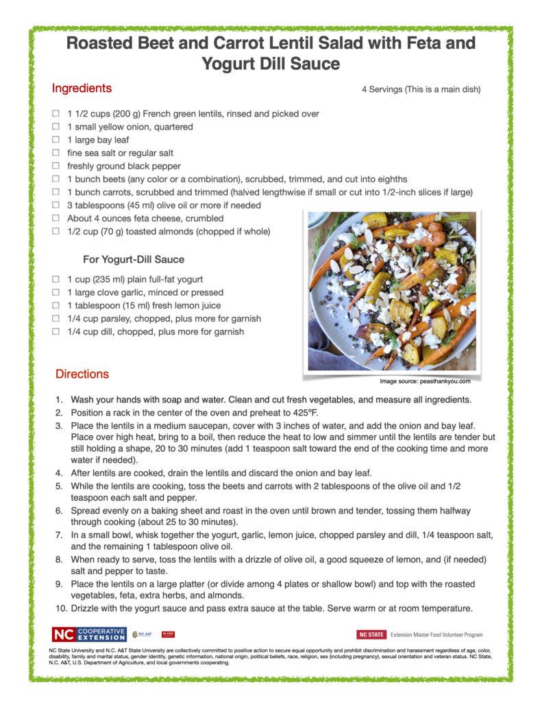Roasted Beet-Carrot Lentil Salad Feta Yogurt Dill recipe