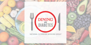 Dining with Diabetes logo with foods background