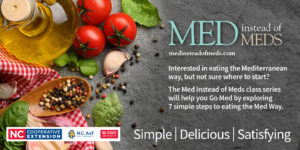 med instead of meds banner with vegetables